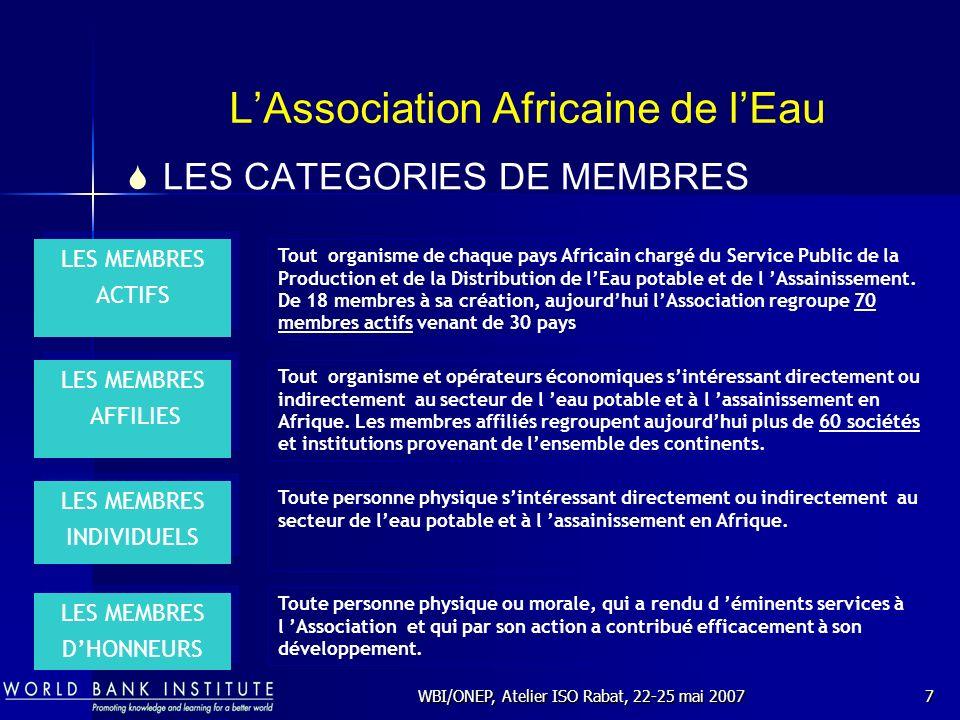 WBI/ONEP, Atelier ISO Rabat, 22-25 mai 20077 LAssociation Africaine de lEau Tout organisme de chaque pays Africain chargé du Service Public de la Prod