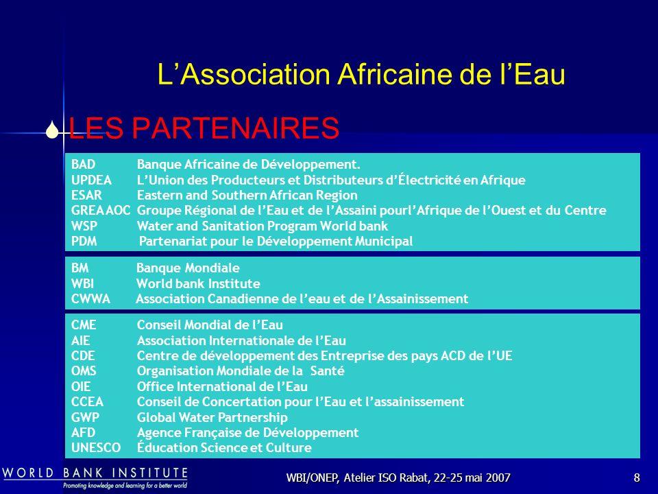 WBI/ONEP, Atelier ISO Rabat, 22-25 mai 200729 Les Normes et les Sociétés dEau en Afrique Qualité organoleptique (couleur, turbidité, odeur, saveur) Paramètres physico-chimiques naturels (température, pH, chlorures: 200 mg/l, sulfates : 250 mg/l, etc.) Substances indésirables (nitrates : 50 mg/l, nitrites, etc.) Substances toxiques (arsenic, cadmium, plomb, hydrocarbures, etc.) Paramètres microbiologiques (l eau ne doit pas contenir d organismes pathogènes) Pesticides Les Normes et lOrganisation Mondiale de la Santé sur la Qualité de leau Les Paramètres pouvant être respectés sont: Les Normes les plus utilisées par les Sociétés deau sont donc celles élaborées par lOMS et relatives à la Qualité de leau distribuée.