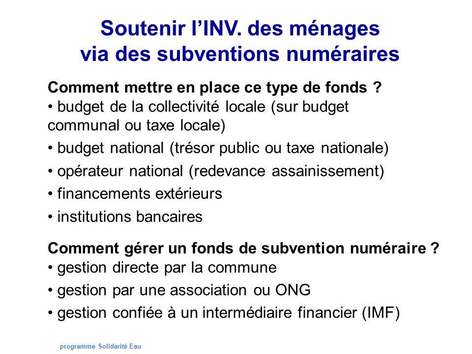 programme Solidarité Eau Soutenir lINV. des ménages via des subventions numéraires Comment mettre en place ce type de fonds ? budget de la collectivit