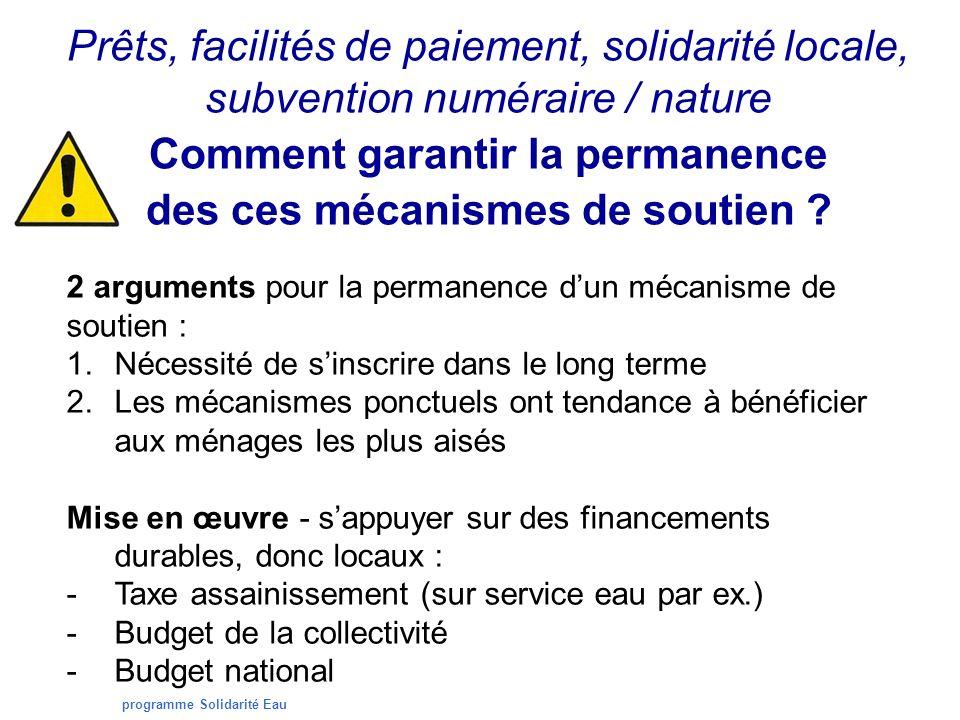 programme Solidarité Eau Prêts, facilités de paiement, solidarité locale, subvention numéraire / nature Comment garantir la permanence des ces mécanismes de soutien .