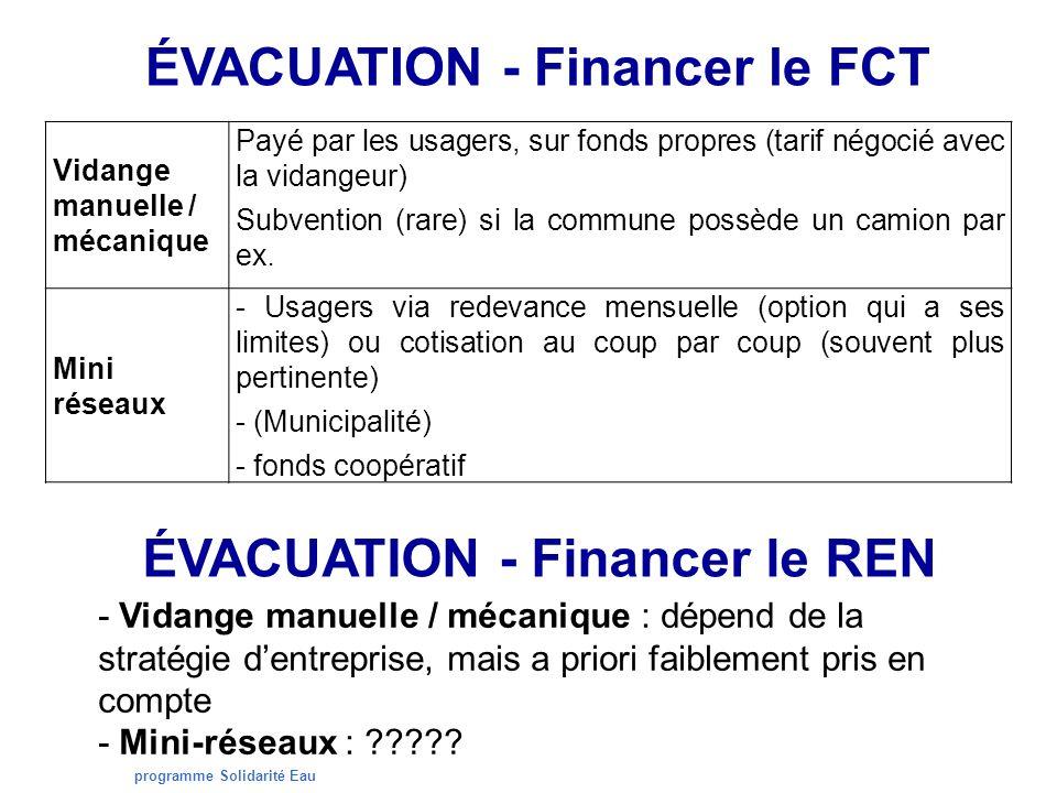 programme Solidarité Eau ÉVACUATION - Financer le FCT Vidange manuelle / mécanique Payé par les usagers, sur fonds propres (tarif négocié avec la vidangeur) Subvention (rare) si la commune possède un camion par ex.