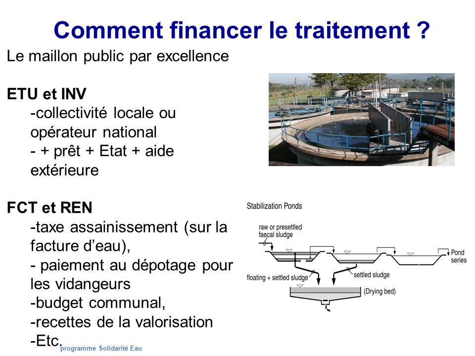 programme Solidarité Eau Comment financer le traitement ? Le maillon public par excellence ETU et INV -collectivité locale ou opérateur national - + p
