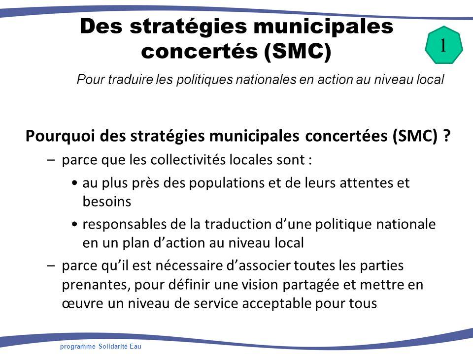 programme Solidarité Eau Des stratégies municipales concertés (SMC) Pour traduire les politiques nationales en action au niveau local Pourquoi des stratégies municipales concertées (SMC) .