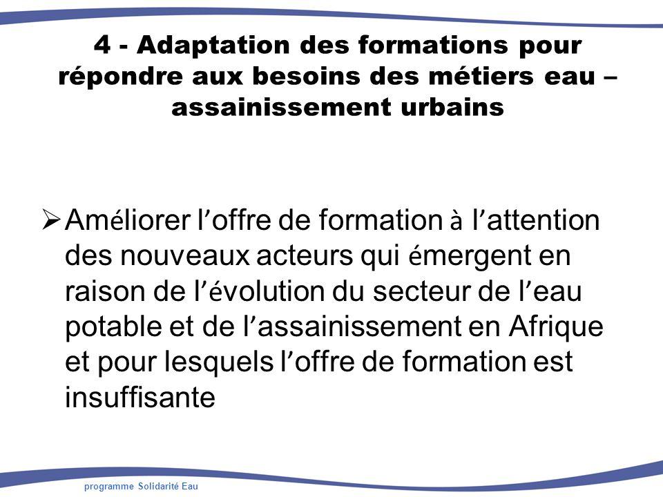 programme Solidarité Eau 4 - Adaptation des formations pour répondre aux besoins des métiers eau – assainissement urbains Am é liorer l offre de formation à l attention des nouveaux acteurs qui é mergent en raison de l é volution du secteur de l eau potable et de l assainissement en Afrique et pour lesquels l offre de formation est insuffisante