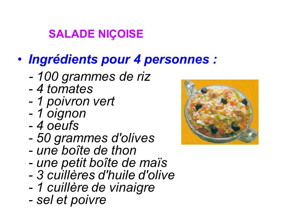 SALADE NIÇOISE Ingrédients pour 4 personnes : - 100 grammes de riz - 4 tomates - 1 poivron vert - 1 oignon - 4 oeufs - 50 grammes d'olives - une boîte