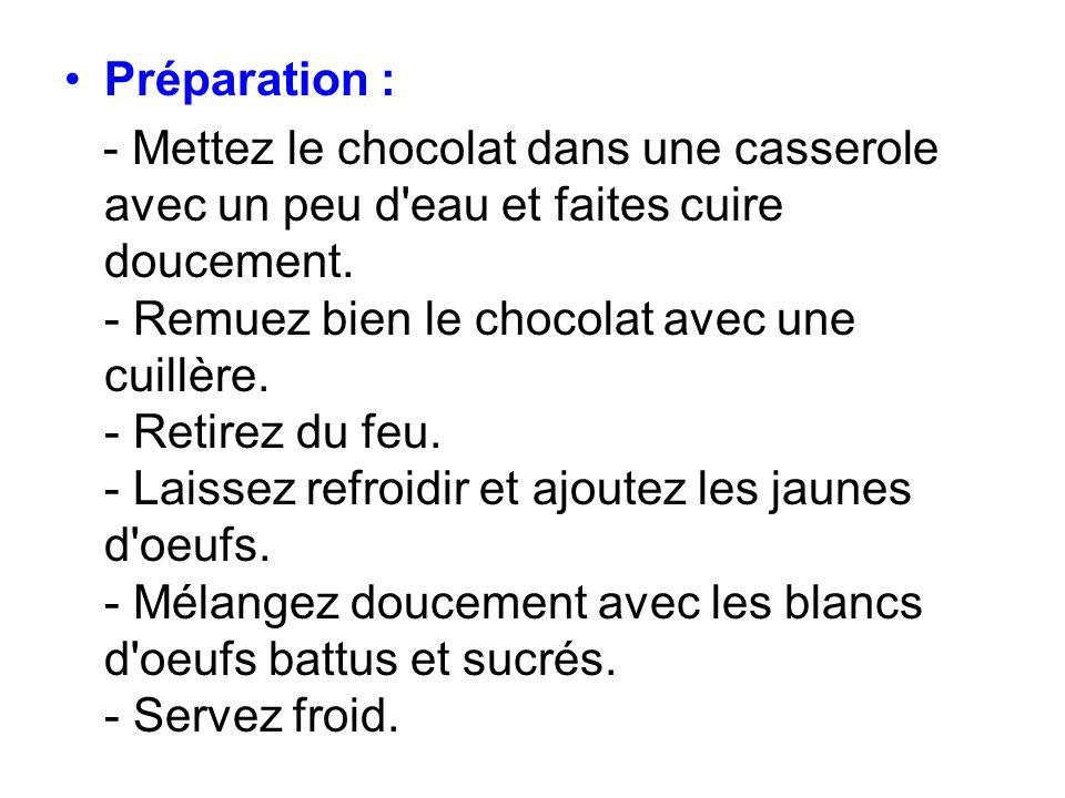 Préparation : - Mettez le chocolat dans une casserole avec un peu d'eau et faites cuire doucement. - Remuez bien le chocolat avec une cuillère. - Reti