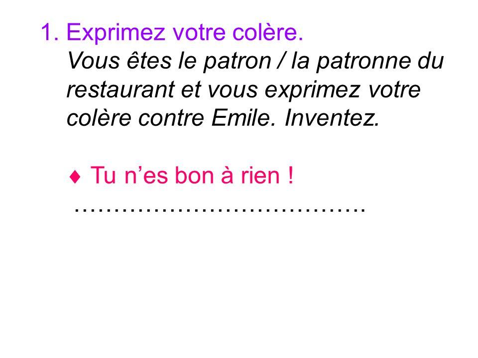 1. Exprimez votre colère. Vous êtes le patron / la patronne du restaurant et vous exprimez votre colère contre Emile. Inventez. Tu nes bon à rien ! ……