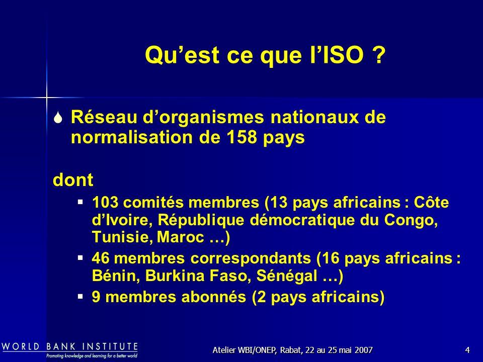 Atelier WBI/ONEP, Rabat, 22 au 25 mai 20075 Près de 250 comités techniques ISO (ISO/TC) couvrant tous les secteurs dactivités