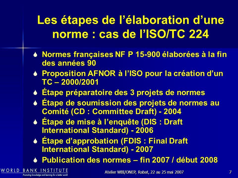 Atelier WBI/ONEP, Rabat, 22 au 25 mai 20078 Qui élaborent les normes .
