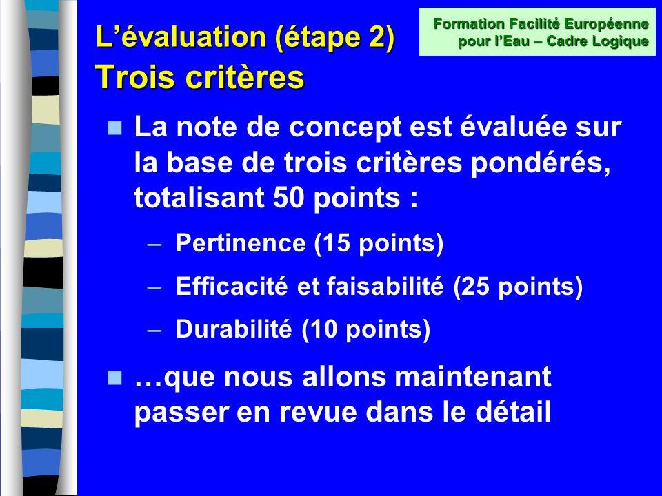 Lévaluation - étape 2 Note de présentation succincte