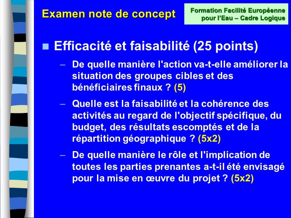 Examen note de concept Pertinence (total 15 points) –Quelle est la pertinence de laction proposée en regard des besoins et contraintes du pays et des groupes cibles et bénéficiaires finaux .