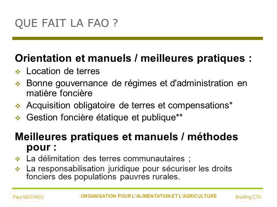 QUE FAIT LA FAO .
