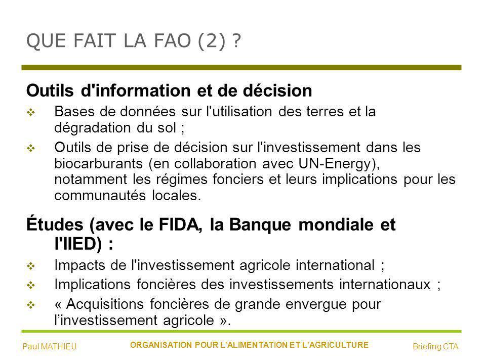 QUE FAIT LA FAO (2) .