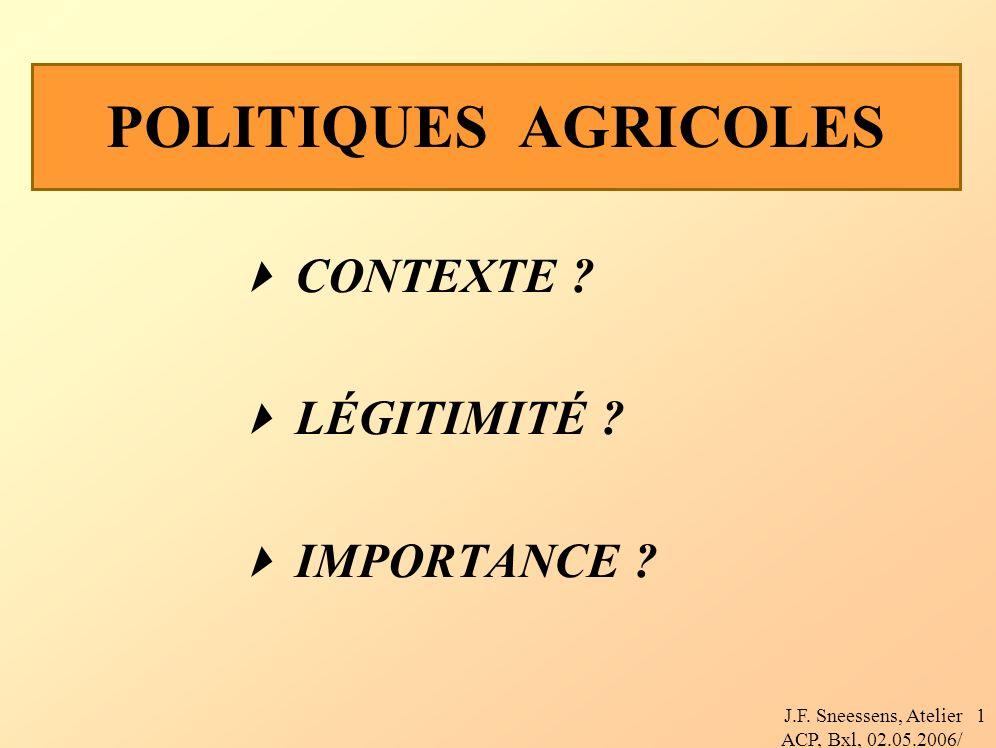 J.F. Sneessens, Atelier ACP, Bxl, 02.05.2006/ 1 POLITIQUES AGRICOLES CONTEXTE .