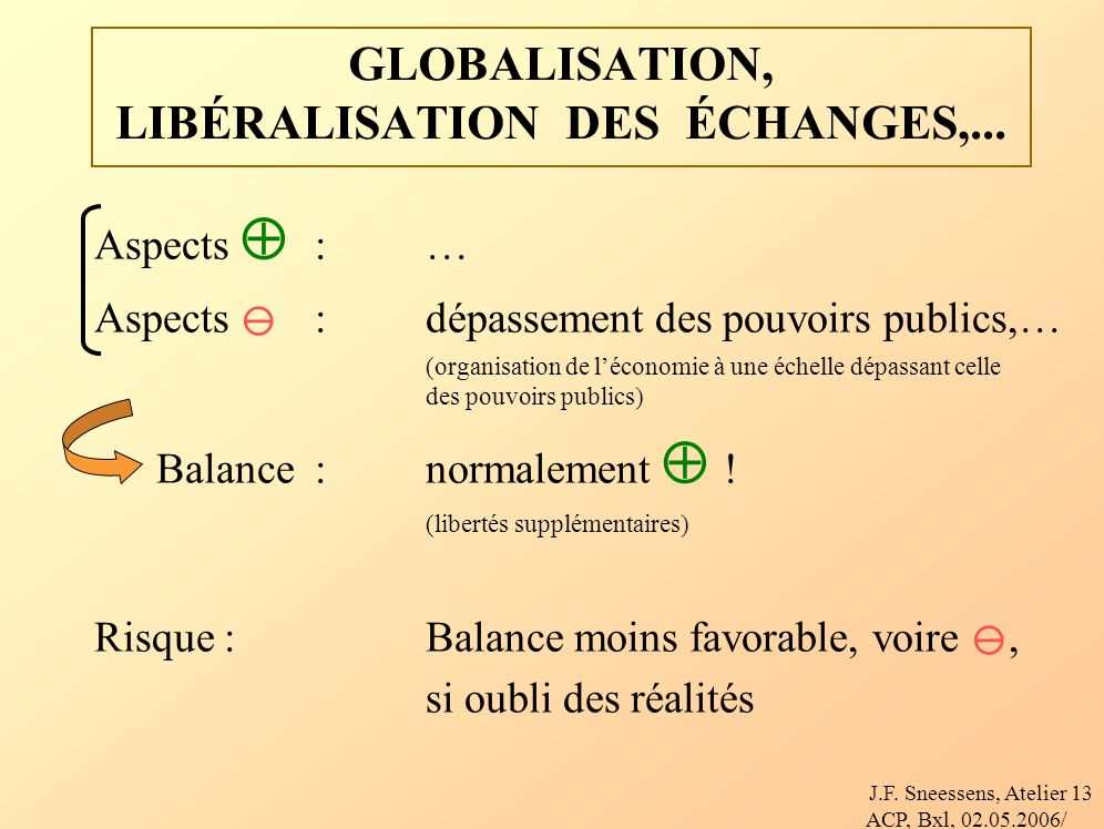 J.F. Sneessens, Atelier ACP, Bxl, 02.05.2006/ 13 GLOBALISATION, LIBÉRALISATION DES ÉCHANGES,...