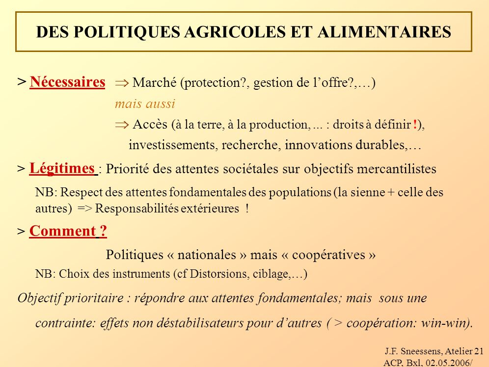 J.F. Sneessens, Atelier ACP, Bxl, 02.05.2006/ 21 DES POLITIQUES AGRICOLES ET ALIMENTAIRES > Nécessaires Marché (protection?, gestion de loffre?,…) mai