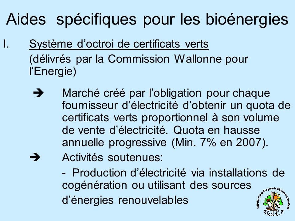 Aides spécifiques pour les bioénergies I.Système doctroi de certificats verts (délivrés par la Commission Wallonne pour lEnergie) Marché créé par lobligation pour chaque fournisseur délectricité dobtenir un quota de certificats verts proportionnel à son volume de vente délectricité.