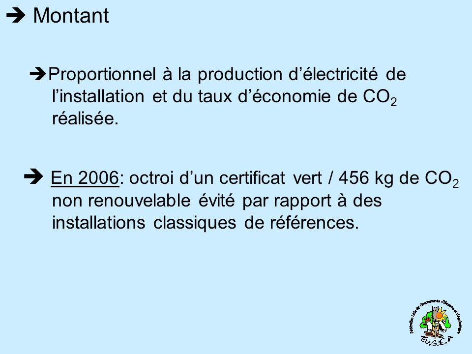 Montant Proportionnel à la production délectricité de linstallation et du taux déconomie de CO 2 réalisée. En 2006: octroi dun certificat vert / 456 k