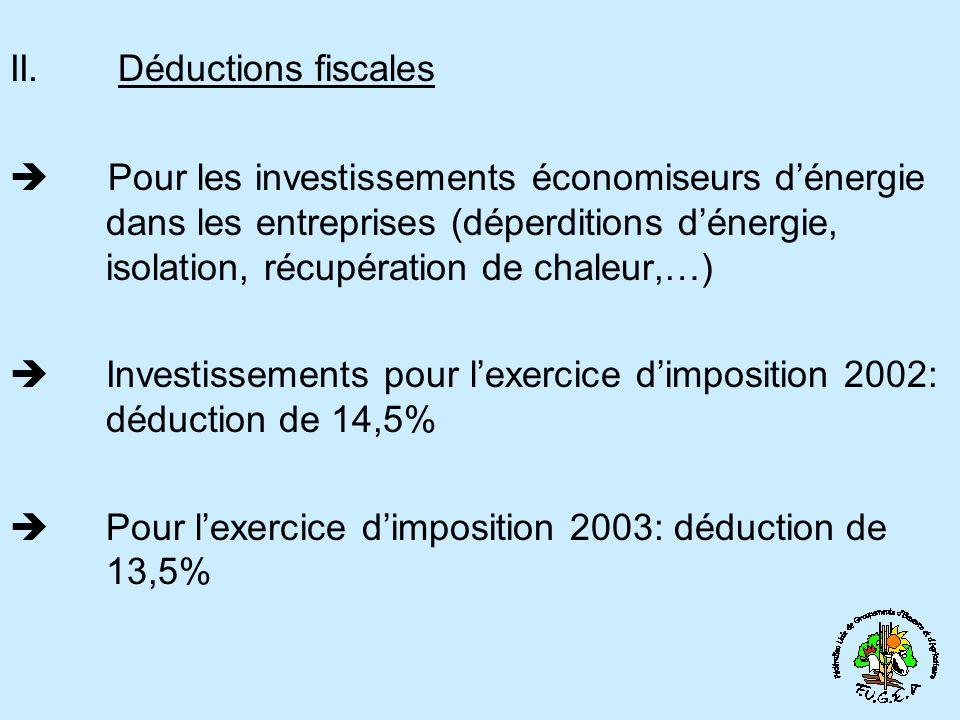 II. Déductions fiscales Pour les investissements économiseurs dénergie dans les entreprises (déperditions dénergie, isolation, récupération de chaleur