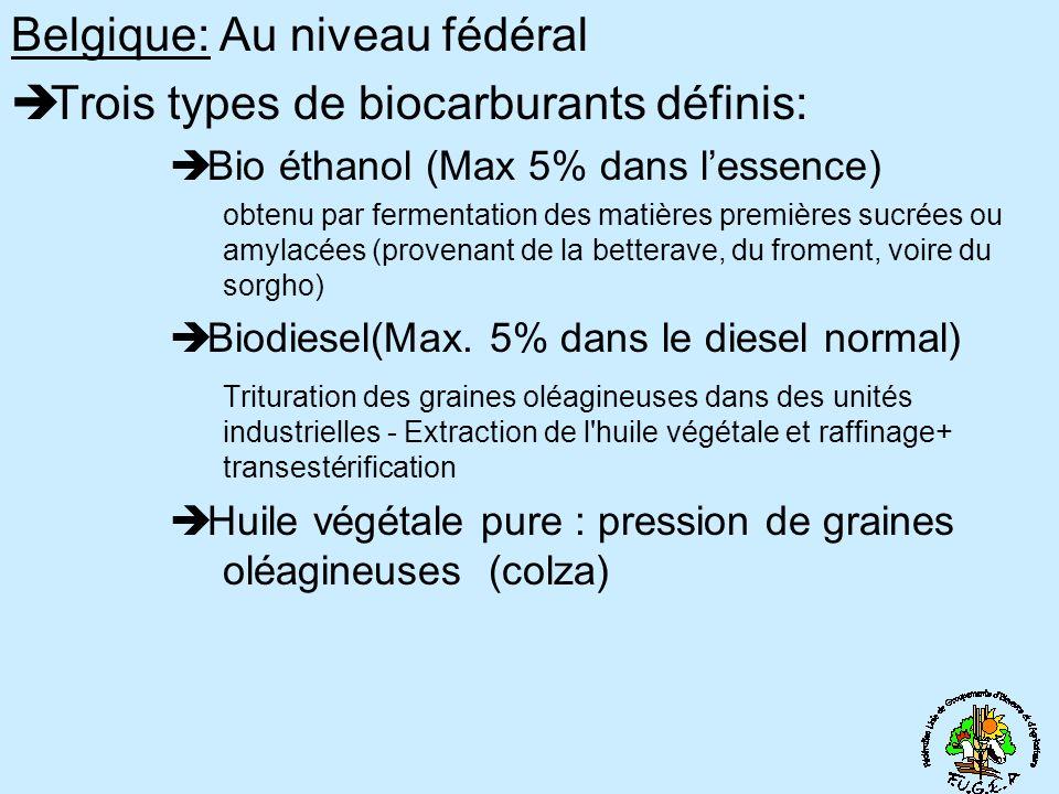 Belgique: Au niveau fédéral Trois types de biocarburants définis: Bio éthanol (Max 5% dans lessence) obtenu par fermentation des matières premières sucrées ou amylacées (provenant de la betterave, du froment, voire du sorgho) Biodiesel(Max.