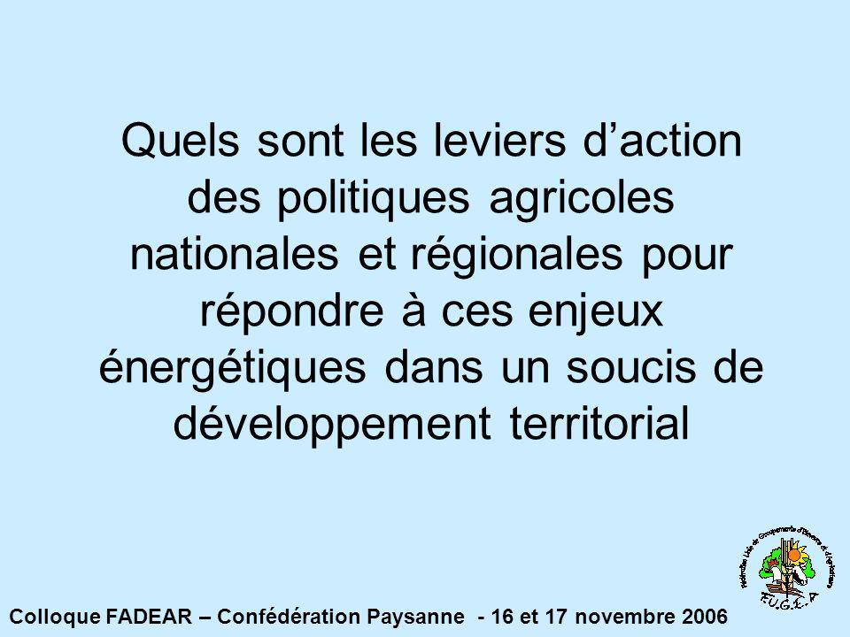 Quels sont les leviers daction des politiques agricoles nationales et régionales pour répondre à ces enjeux énergétiques dans un soucis de développement territorial Colloque FADEAR – Confédération Paysanne - 16 et 17 novembre 2006