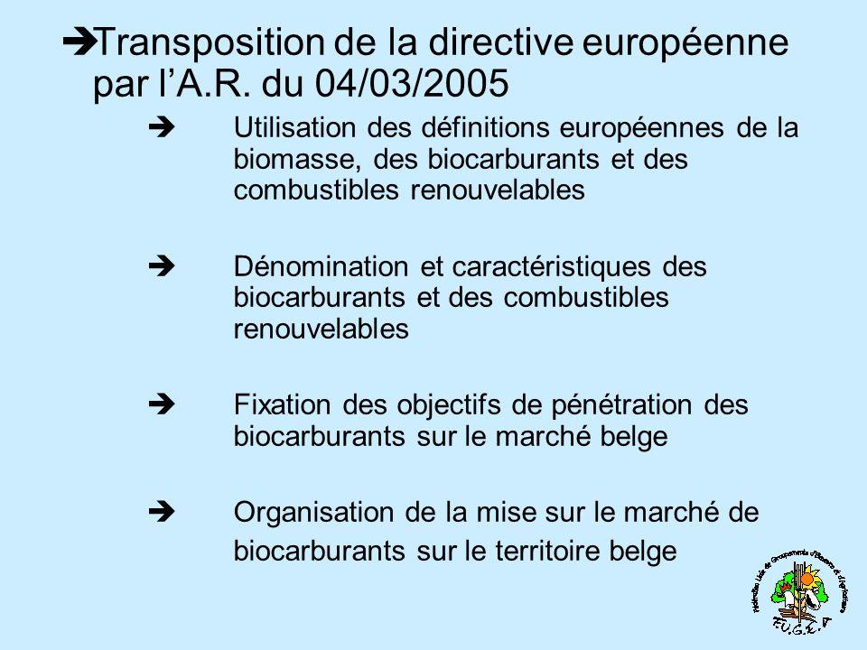 Transposition de la directive européenne par lA.R. du 04/03/2005 Utilisation des définitions européennes de la biomasse, des biocarburants et des comb