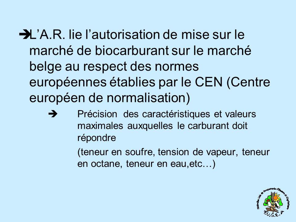 LA.R. lie lautorisation de mise sur le marché de biocarburant sur le marché belge au respect des normes européennes établies par le CEN (Centre europé