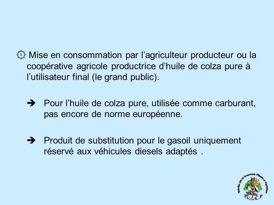 ۞ Mise en consommation par lagriculteur producteur ou la coopérative agricole productrice dhuile de colza pure à lutilisateur final (le grand public).