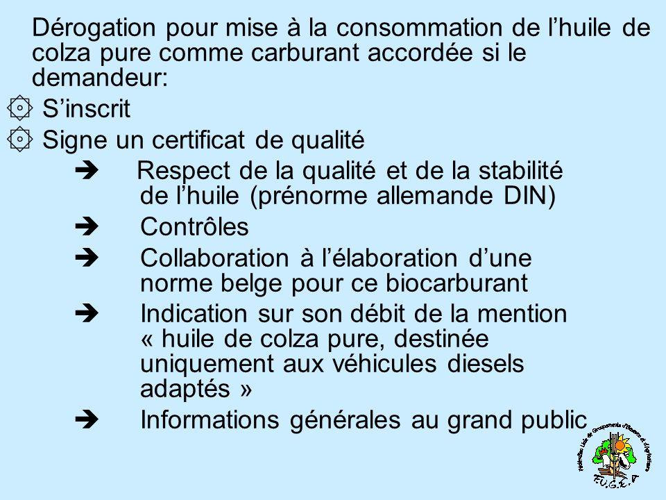 Dérogation pour mise à la consommation de lhuile de colza pure comme carburant accordée si le demandeur: ۞ Sinscrit ۞ Signe un certificat de qualité R