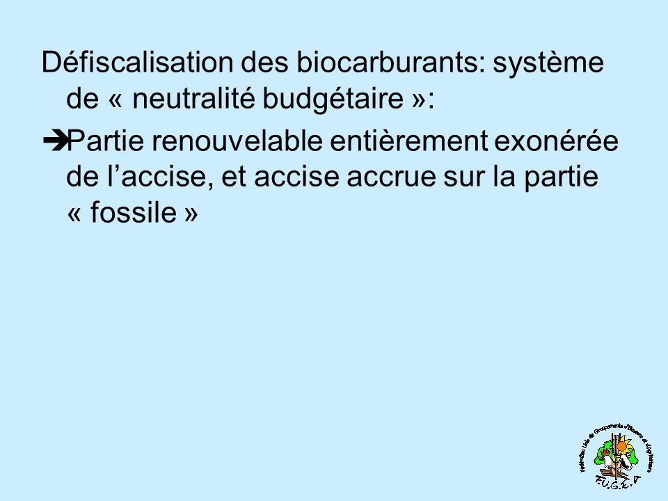 Défiscalisation des biocarburants: système de « neutralité budgétaire »: Partie renouvelable entièrement exonérée de laccise, et accise accrue sur la partie « fossile »