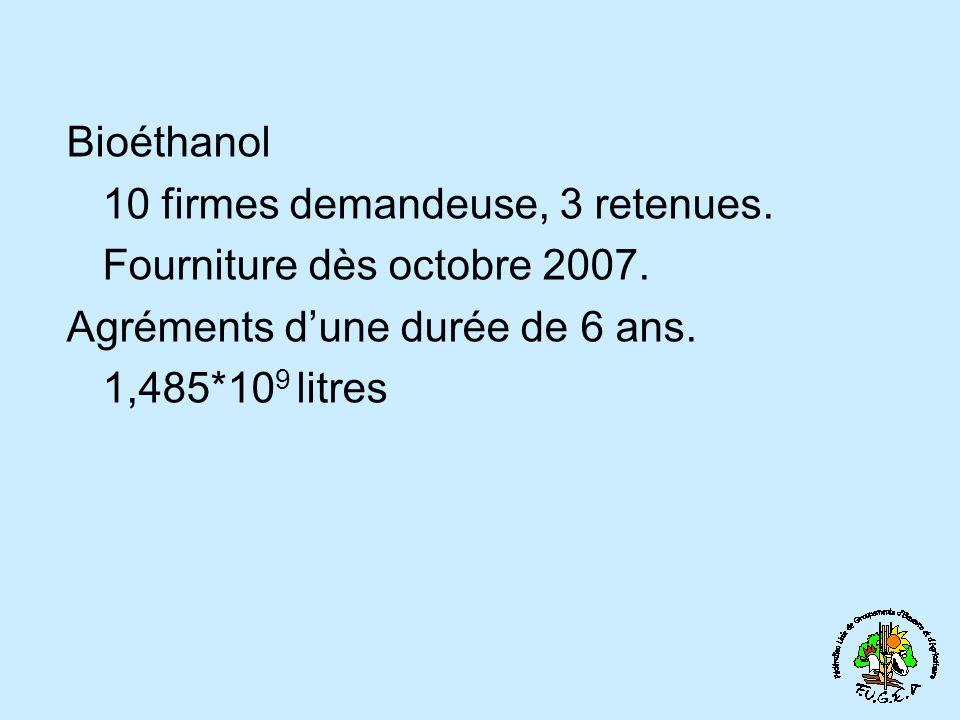 Bioéthanol 10 firmes demandeuse, 3 retenues. Fourniture dès octobre 2007. Agréments dune durée de 6 ans. 1,485*10 9 litres