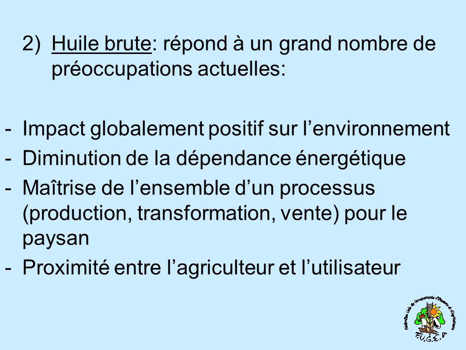 2)Huile brute: répond à un grand nombre de préoccupations actuelles: -I-Impact globalement positif sur lenvironnement -D-Diminution de la dépendance énergétique -M-Maîtrise de lensemble dun processus (production, transformation, vente) pour le paysan -P-Proximité entre lagriculteur et lutilisateur