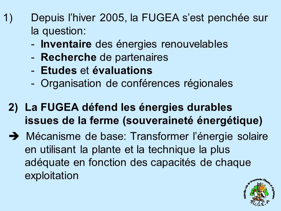 1) Depuis lhiver 2005, la FUGEA sest penchée sur la question: - Inventaire des énergies renouvelables - Recherche de partenaires - Etudes et évaluatio
