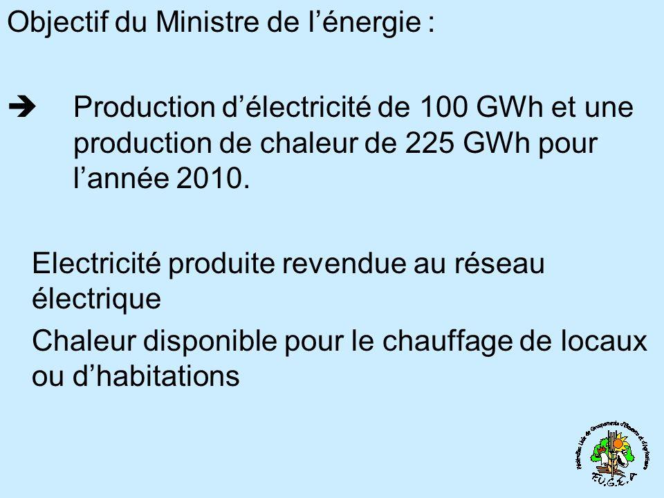 Objectif du Ministre de lénergie : Production délectricité de 100 GWh et une production de chaleur de 225 GWh pour lannée 2010.