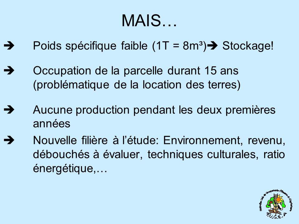 MAIS… Poids spécifique faible (1T = 8m³) Stockage! Occupation de la parcelle durant 15 ans (problématique de la location des terres) Aucune production