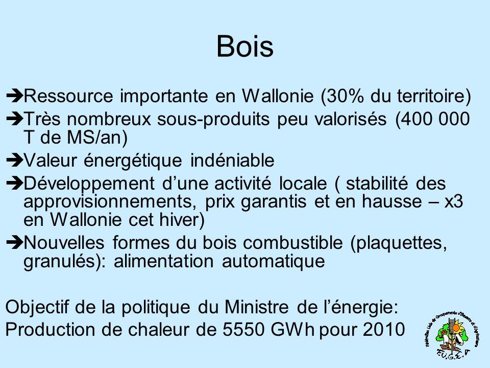 Bois Ressource importante en Wallonie (30% du territoire) Très nombreux sous-produits peu valorisés (400 000 T de MS/an) Valeur énergétique indéniable Développement dune activité locale ( stabilité des approvisionnements, prix garantis et en hausse – x3 en Wallonie cet hiver) Nouvelles formes du bois combustible (plaquettes, granulés): alimentation automatique Objectif de la politique du Ministre de lénergie: Production de chaleur de 5550 GWh pour 2010