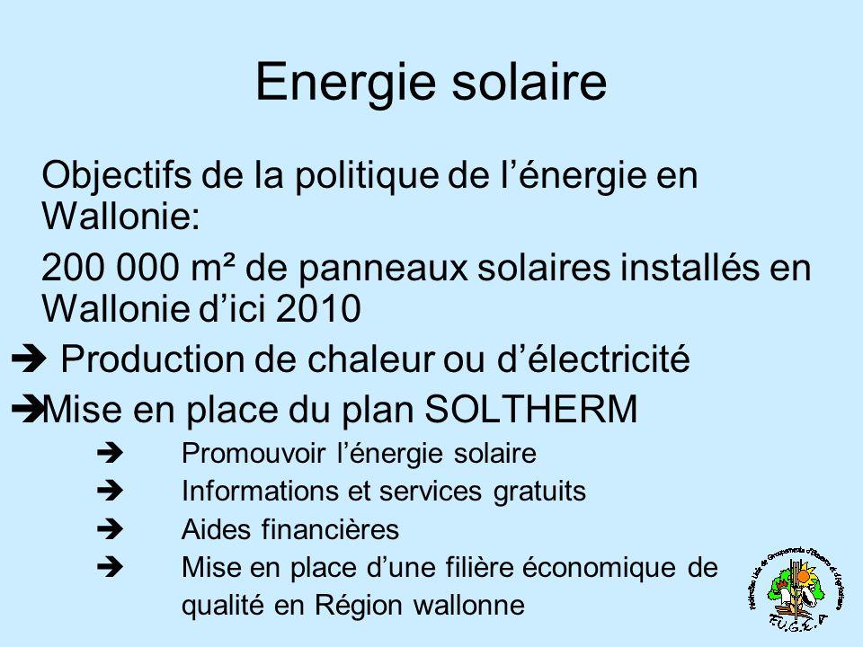 Energie solaire Objectifs de la politique de lénergie en Wallonie: 200 000 m² de panneaux solaires installés en Wallonie dici 2010 Production de chaleur ou délectricité Mise en place du plan SOLTHERM Promouvoir lénergie solaire Informations et services gratuits Aides financières Mise en place dune filière économique de qualité en Région wallonne