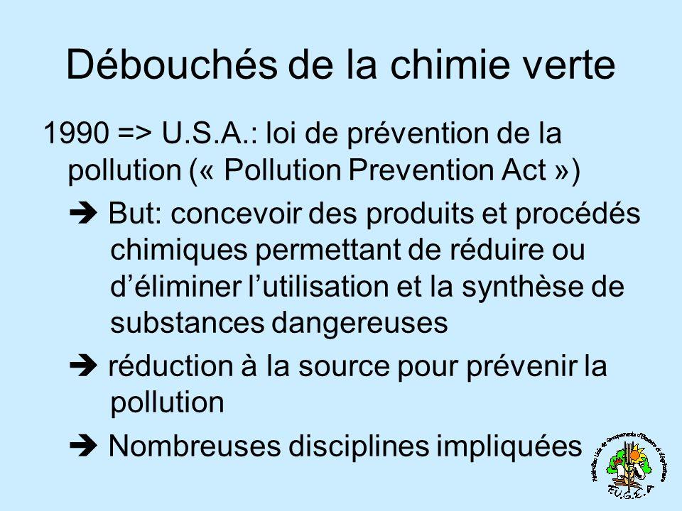 1990 => U.S.A.: loi de prévention de la pollution (« Pollution Prevention Act ») But: concevoir des produits et procédés chimiques permettant de réduire ou déliminer lutilisation et la synthèse de substances dangereuses réduction à la source pour prévenir la pollution Nombreuses disciplines impliquées Débouchés de la chimie verte