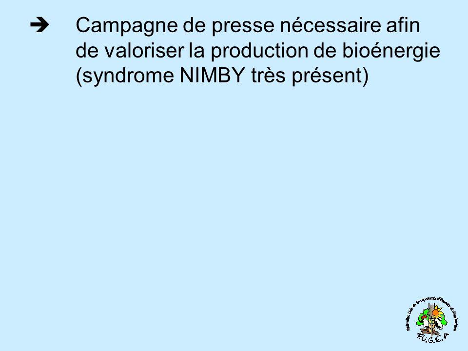 Campagne de presse nécessaire afin de valoriser la production de bioénergie (syndrome NIMBY très présent)