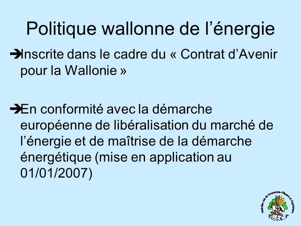 Politique wallonne de lénergie Inscrite dans le cadre du « Contrat dAvenir pour la Wallonie » En conformité avec la démarche européenne de libéralisation du marché de lénergie et de maîtrise de la démarche énergétique (mise en application au 01/01/2007)