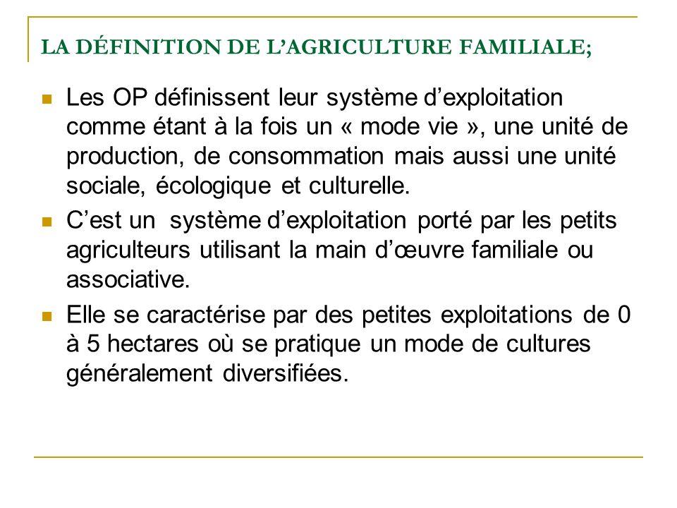 LA DÉFINITION DE LAGRICULTURE FAMILIALE; Les OP définissent leur système dexploitation comme étant à la fois un « mode vie », une unité de production, de consommation mais aussi une unité sociale, écologique et culturelle.