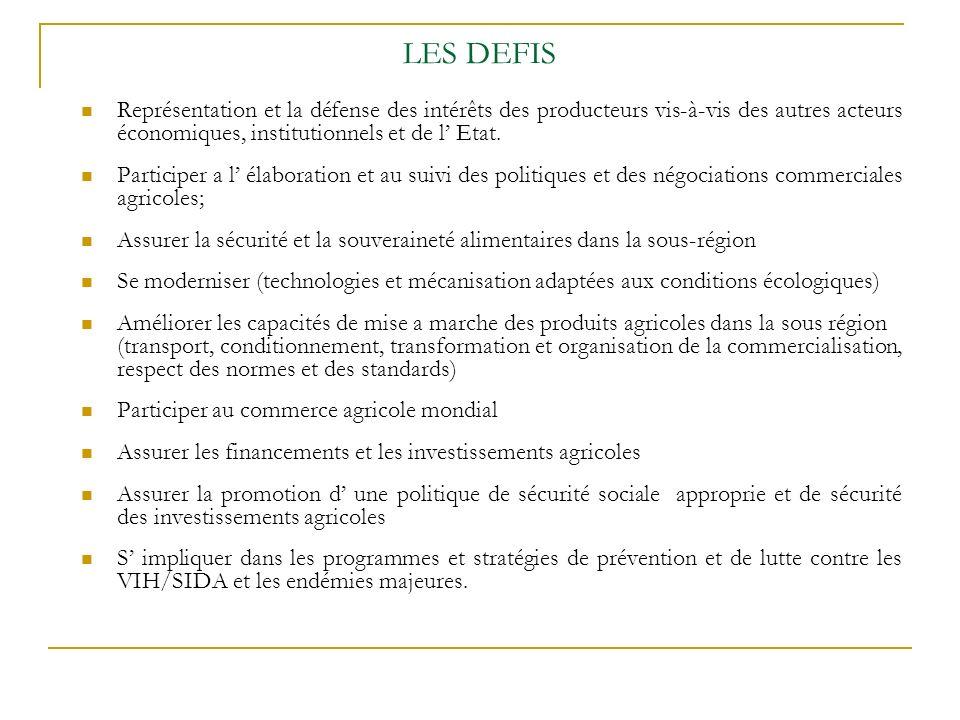 LES DEFIS Représentation et la défense des intérêts des producteurs vis-à-vis des autres acteurs économiques, institutionnels et de l Etat.