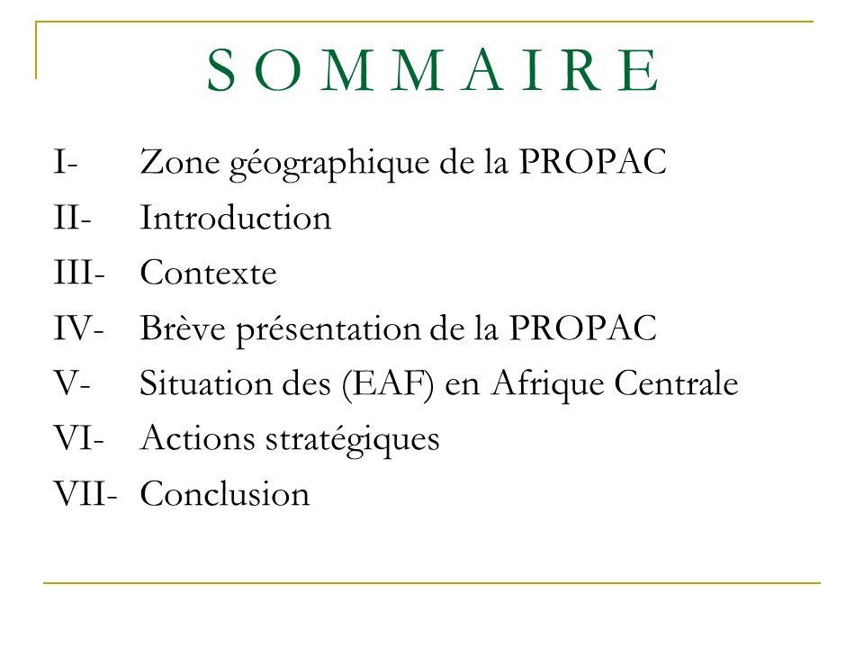 S O M M A I R E I-Zone géographique de la PROPAC II-Introduction III-Contexte IV-Brève présentation de la PROPAC V-Situation des (EAF) en Afrique Centrale VI-Actions stratégiques VII-Conclusion