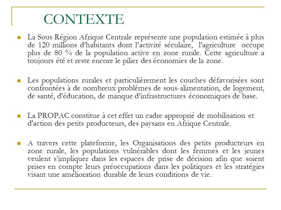 CONTEXTE La Sous Région Afrique Centrale représente une population estimée à plus de 120 millions dhabitants dont lactivité séculaire, lagriculture occupe plus de 80 % de la population active en zone rurale.