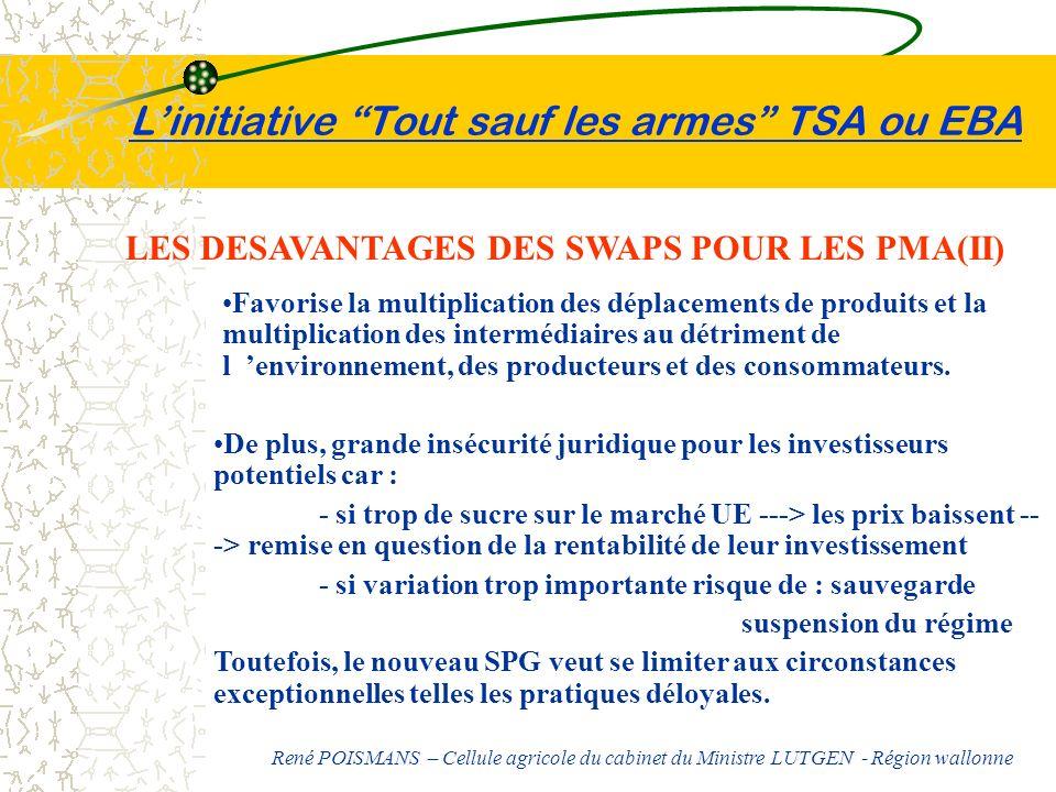 Linitiative Tout sauf les armes TSA ou EBA Favorise la multiplication des déplacements de produits et la multiplication des intermédiaires au détrimen