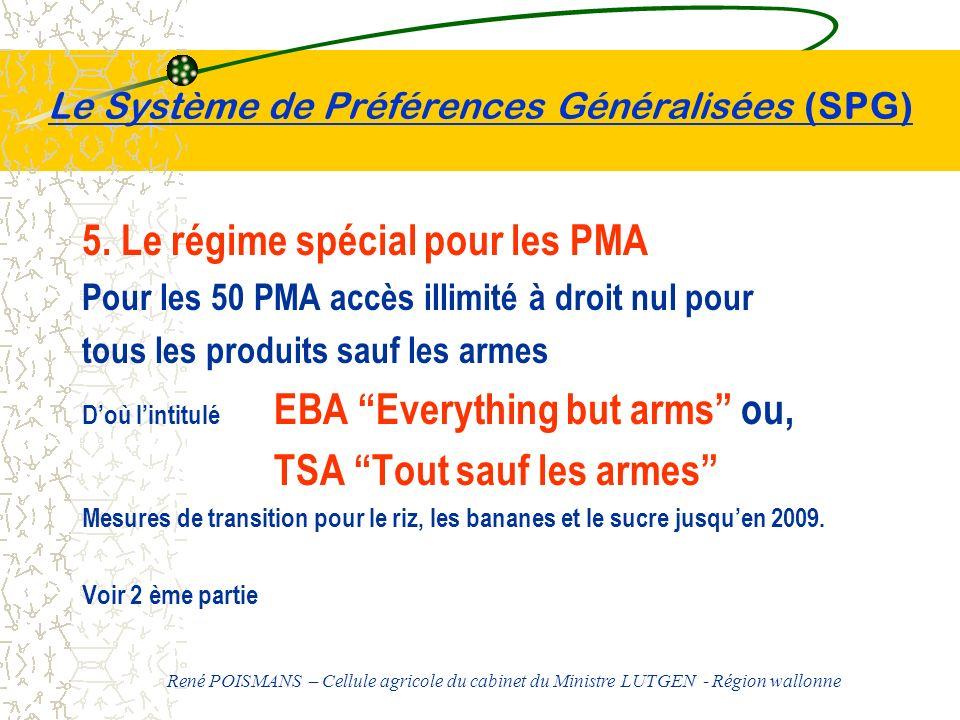 Le Système de Préférences Généralisées (SPG) 5. Le régime spécial pour les PMA Pour les 50 PMA accès illimité à droit nul pour tous les produits sauf