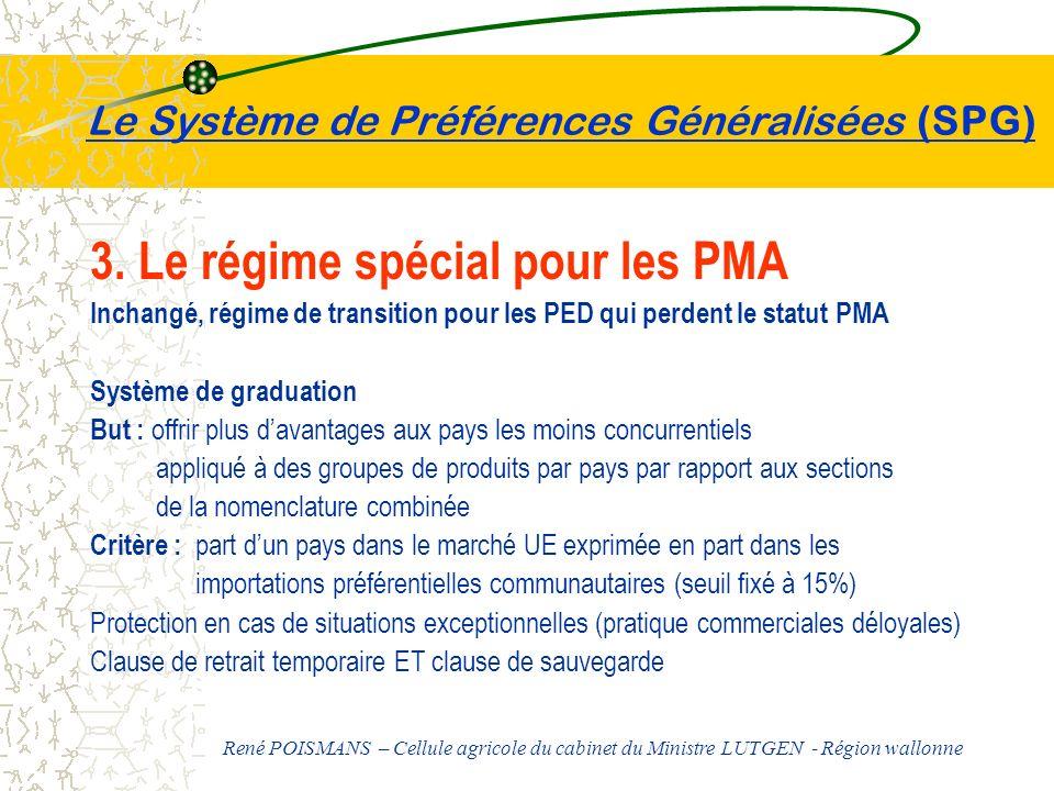 Le Système de Préférences Généralisées (SPG) 3. Le régime spécial pour les PMA Inchangé, régime de transition pour les PED qui perdent le statut PMA S