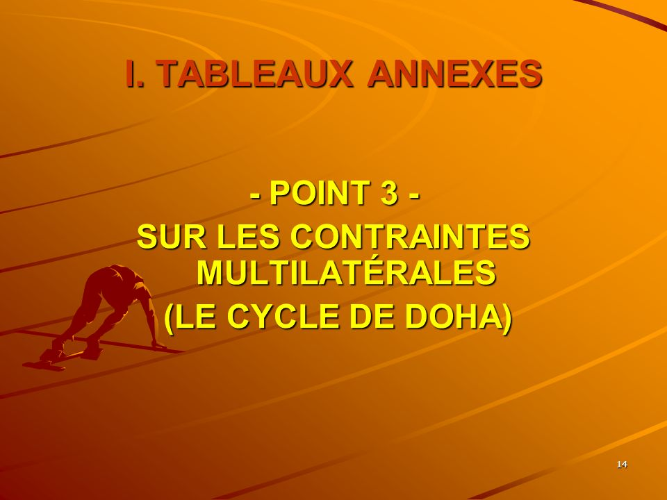 14 I. TABLEAUX ANNEXES - POINT 3 - SUR LES CONTRAINTES MULTILATÉRALES (LE CYCLE DE DOHA) (LE CYCLE DE DOHA)
