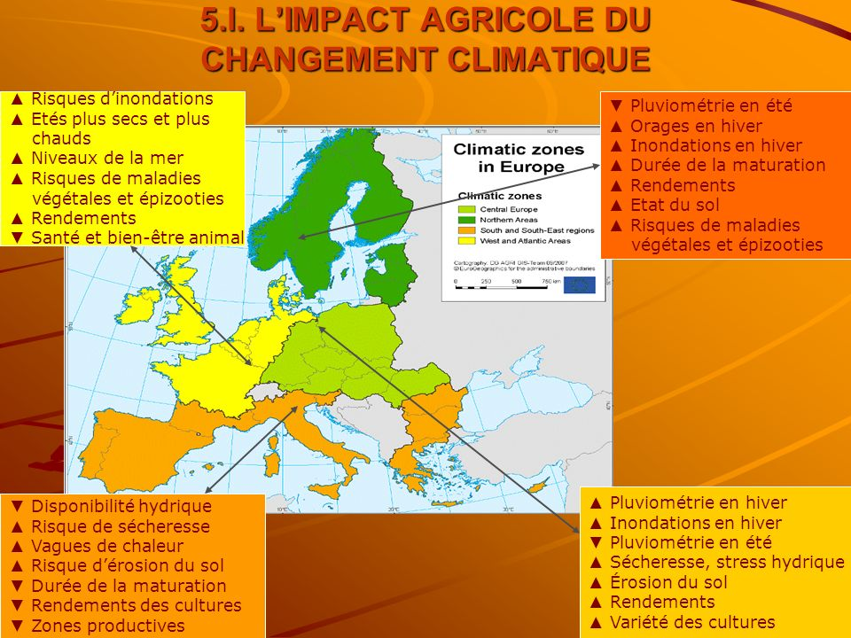 23 5.l. LIMPACT AGRICOLE DU CHANGEMENT CLIMATIQUE Water availability Risk drought, heat spells Risk soil erosion Growing season, crop yields Optimal c