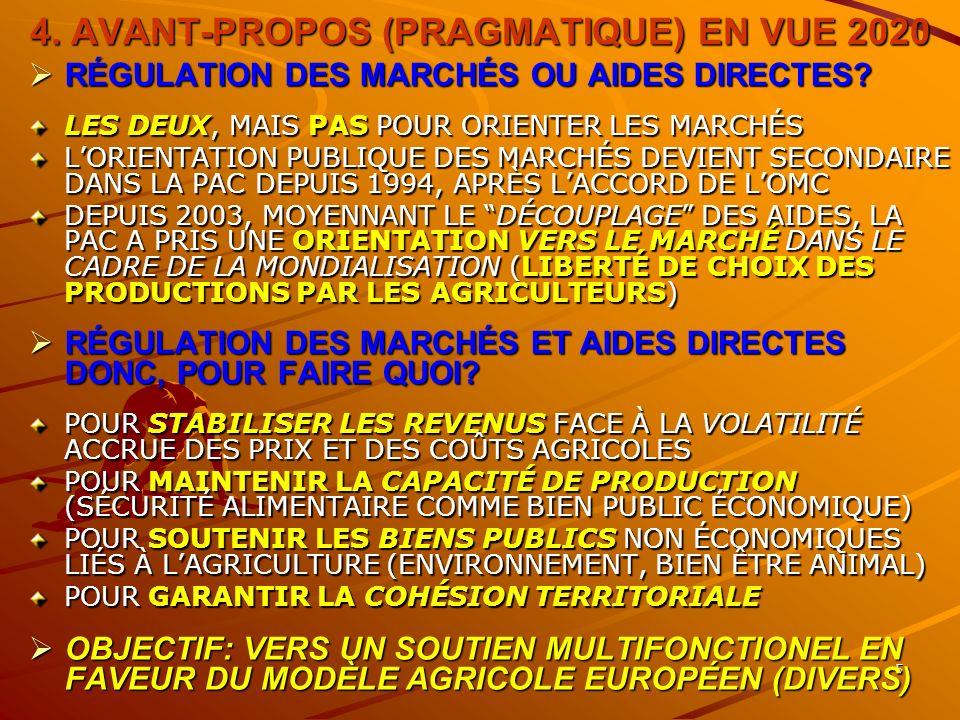 5 4. AVANT-PROPOS (PRAGMATIQUE) EN VUE 2020 RÉGULATION DES MARCHÉS OU AIDES DIRECTES.